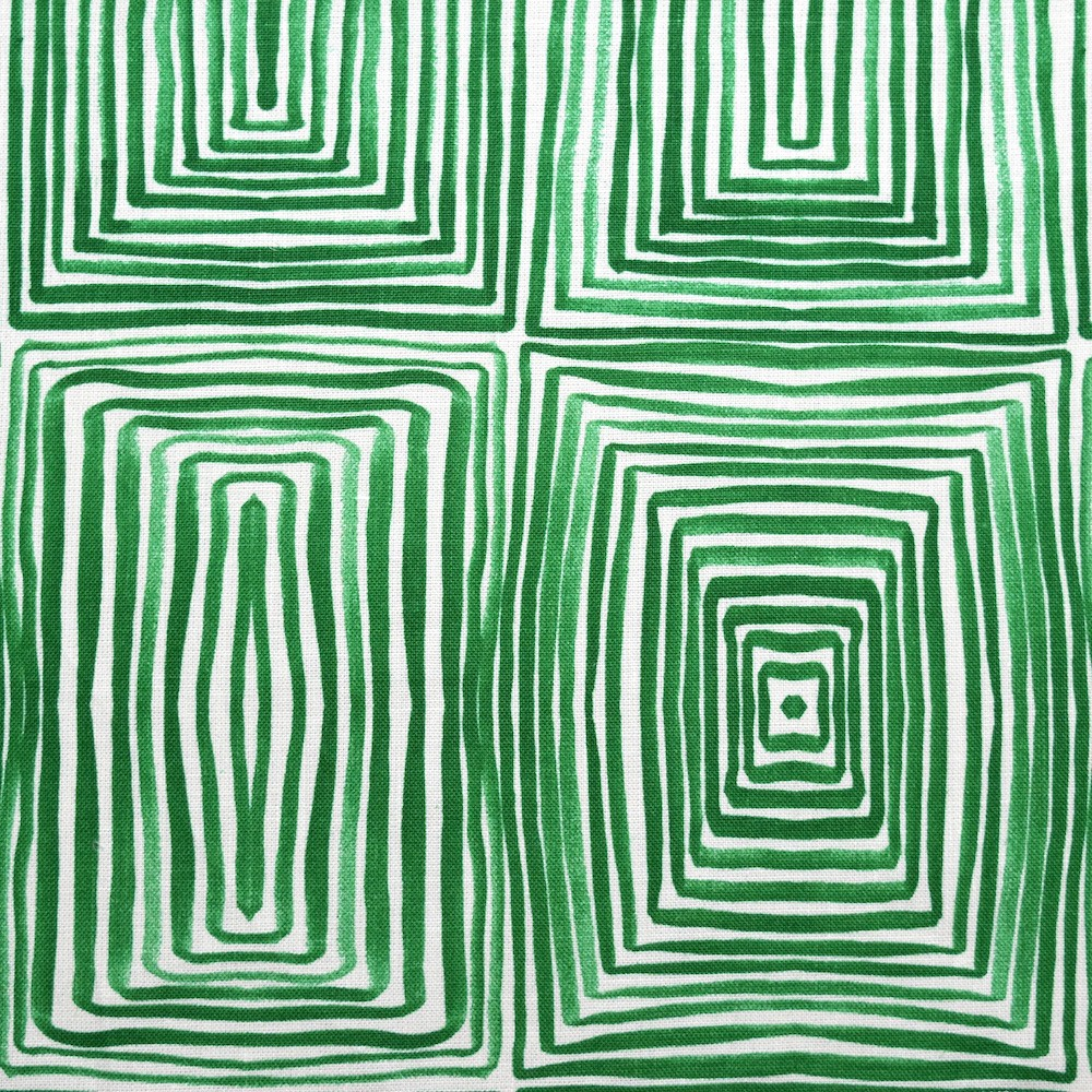 Geometric Squares Green on Ivory